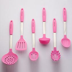 Light Pink Cooking Utensil Set - Stainless Steel & Silicone