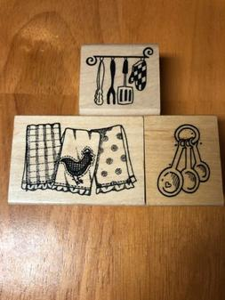 Lot Of 3 Wooden Stamps Cooking Kitchen Measuring Spoons Spat