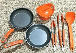 Rachael Ray Lot of 6 Flame Orange Frying Pans/Skillets, Au G
