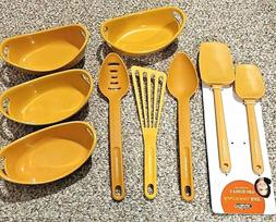 Rachael Ray Lot of 9 Yellow Mustard Kitchen Utensils & Brown