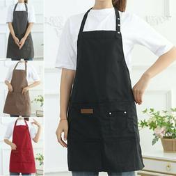 Men Women Apron Waterproof w/ Pockets Kitchen Restaurant Che