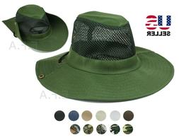 Mens Bucket Boonie Hat Fishing Sun Visor Brim Cool Mesh Summ
