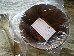 Pampered Chef Mint Condition Wood Salad Bowl & Servers set F