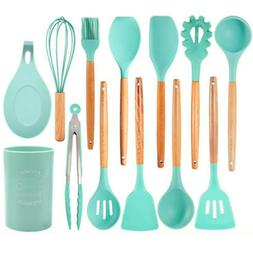 Mint Green Silicone Beech Spoon Spatula Colander Kitchen Ute