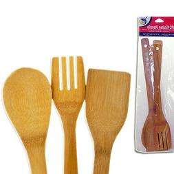 Natural Bamboo Wooden Kitchen Utensils Spatula, Spoon & Fork
