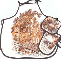 NEW Vintage Cotton Cooking Kitchen Apron With 2 Potholders P