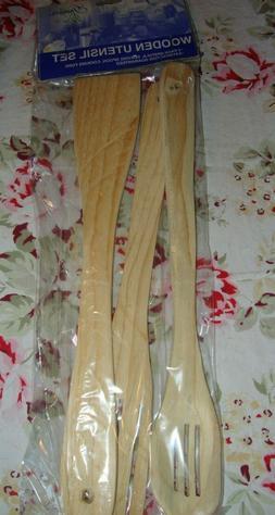 NIP 3Pk Non-Stick Wooden Kitchen Cooking UTENSIL SET Fork, S
