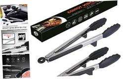 Ofargo Stainless Steel Salad Tongs Kitchen Tongs with Silico