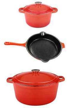 Orange Cast Iron Cookware Set, Pots Pan Lids, Kitchen Cookin