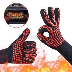 Pair BBQ Grill Cooking Glove Heat Resistant Gloves Silicone