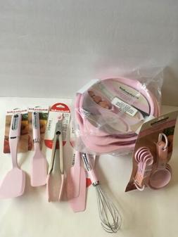 Pink Kitchenaid Set Mixing Bowls Whisk Short Turner Tongs 17