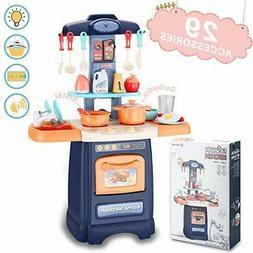 Plastic Kitchen Playset Cooking Toys With 29 Pieces Accessor