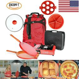 Portable Outdoor Camping Cooking Set Cookware Stove Mold Pan