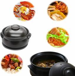 Premium Ceramic Stone Bowl with Lid, For Cooking Hot Pot Bib