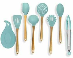 Premium Silicone Cooking Utensils Set, 8 Piece Turquoise Kit