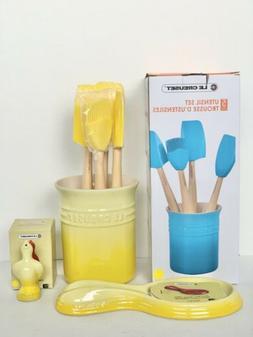 LE CREUSET Rare Soleil Yellow Color Utensil Set, Spoon Rest