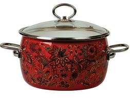 Red Enamelware Cooking Pot Enameled Stockpot w/ Floral Art R