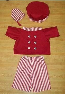 RED VALENTINE CHEF COOK JACKET PANTS TOQUE OVEN MIT for 16-1