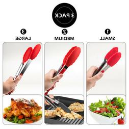 Set of 3 7'' 9'' 13'' Silicone Kitchen Tongs Stainless Steel