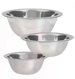 Set Of 3 Stainless Steel Mixing Cooking Bowls Assorted Sizes