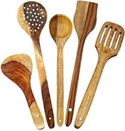 Set of 5 Handmade Wooden Spoons Cooking & Serving Home Kitch