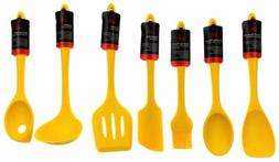 Set of 7 Yellow Kitchen Utensil Silicone Chef Craft Spoon Sp