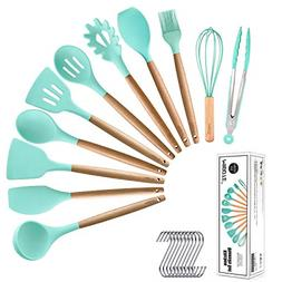 Silicone Cooking Kitchen Utensils Set With Holder BPA Free N