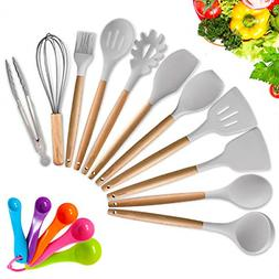 Silicone Cooking Utensil Set,16 PCS Acacia Wooden Cooking To