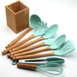 Kitchen Utensil Set - Silicone Cooking Utensils - Bamboo Kit