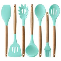 Silicone Cooking Utensils | Wooden Handle, Non-Stick Cookwar