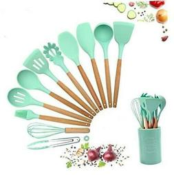 Silicone Kitchen Cooking Utensils Set Teal with Holder 12PCS