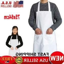 Solid Plain Bib Apron Dress Men Women Chefs Kitchen Cooking