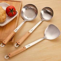 Stainless Spatula Turner Ladle Wok Cooking Utensil Tools Woo