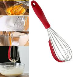 Stainless steel 2 in 1 Whisk Manual Egg Beater with Silicone