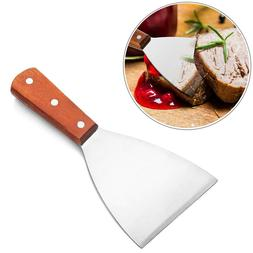 Stainless Steel BBQ Grill Scraper Wood Handle Griddle Kitche