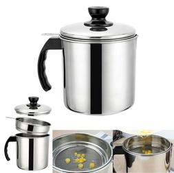 Stainless Steel Cooking Grease Frying Strainer Oil Container