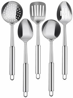 5 Piece Serving Spoons Stainless Steel Cooking Utensils Set
