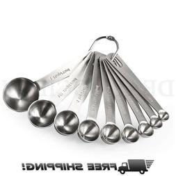 stainless steel measuring spoons with ring holder
