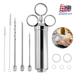 Stainless Steel Turkey Meat Injector Needle Chicken Food Syr