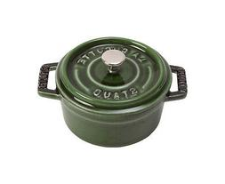Staub Cocotte Roaster 9 3/8in Basil Green Round Cookware Coo