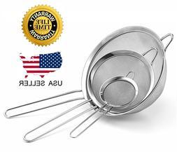 Kitchen Strainer Fine Mesh Pasta Flour Stainless Steel Colan