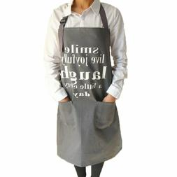 Thick Kitchen Apron Cotton Canvas Bib Apron with Pockets for