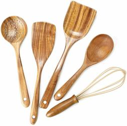 Utensils Set,Wooden Spoons for Cooking Nonstick Wood Kitchen