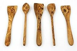 Tramanto Olive Wood Spatulas and Spoons Cooking Utensil Set,