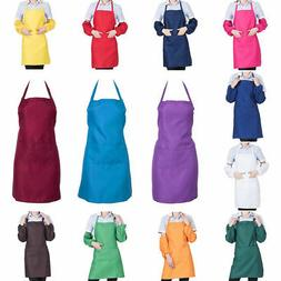 Unisex Plain Cooking Catering Work Apron Tabard with Twin Do