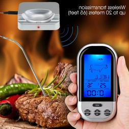 Wireless Digital Food Cooking BBQ Thermometer LCD Remote Gri