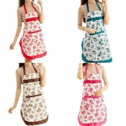 women floral waterproof kitchen bib aprons chef