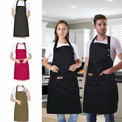 Women Men Waterproof Kitchen Bib Aprons Dress Chef BBQ Cooki