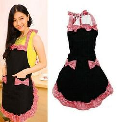Cute Cooking Dress Apron Bib Apron Kitchen Bowknot With Pock