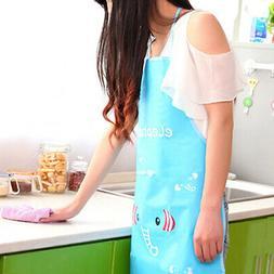 Women Waterproof Cartoon Kitchen Oil Resistant Cooking Bib C